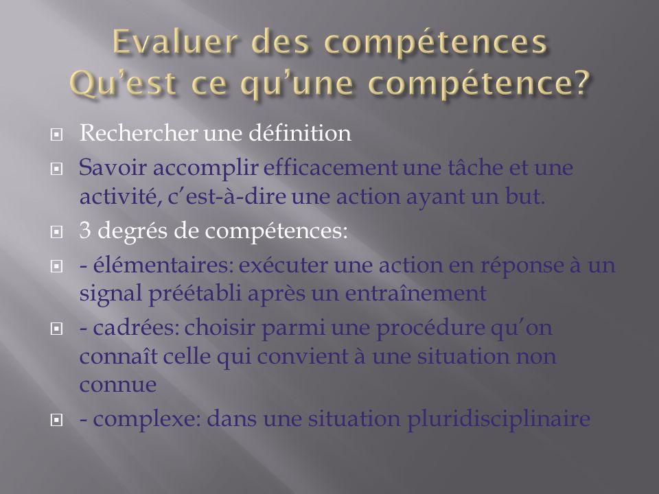  Rechercher une définition  Savoir accomplir efficacement une tâche et une activité, c'est-à-dire une action ayant un but.  3 degrés de compétences