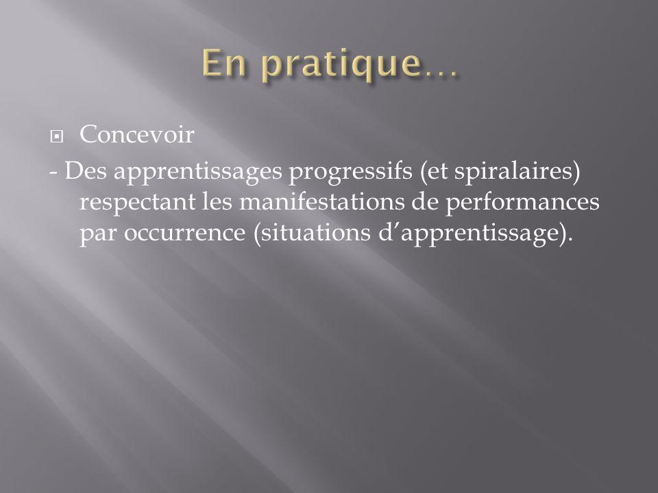  Concevoir - Des apprentissages progressifs (et spiralaires) respectant les manifestations de performances par occurrence (situations d'apprentissage