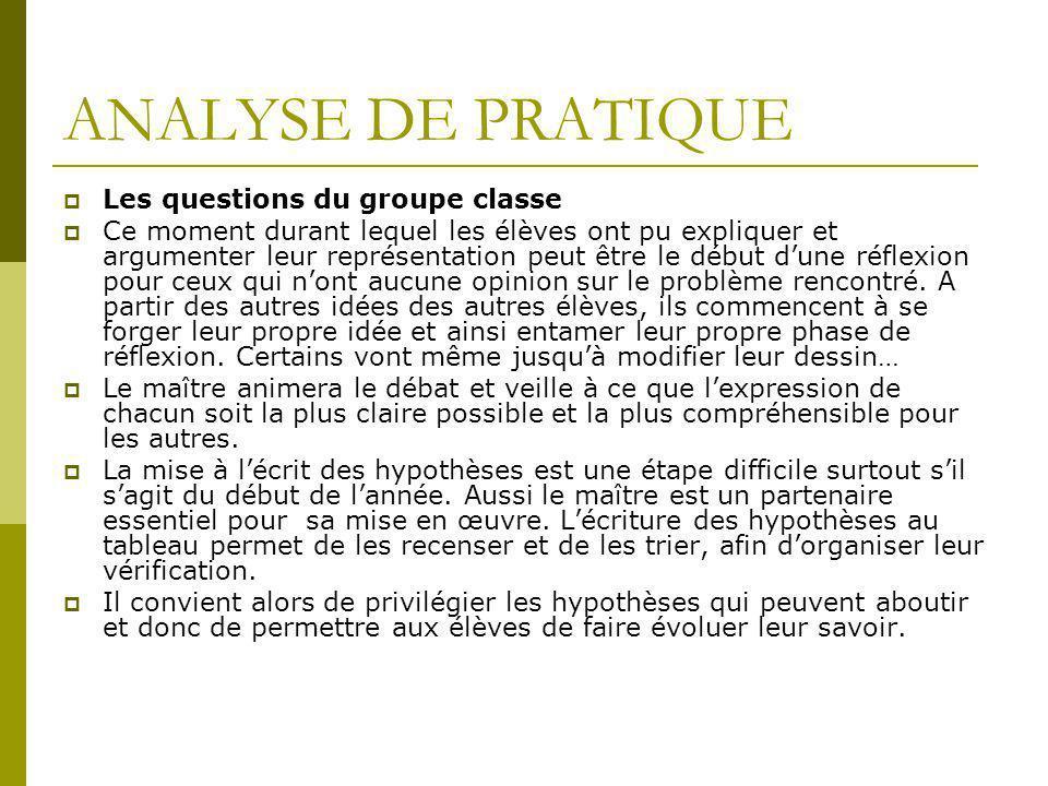 ANALYSE DE PRATIQUE  Les questions du groupe classe  Ce moment durant lequel les élèves ont pu expliquer et argumenter leur représentation peut être