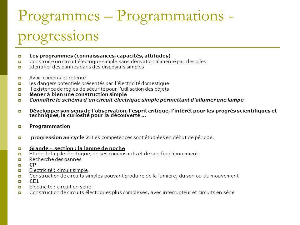 Programmes – Programmations - progressions  Les programmes (connaissances, capacités, attitudes)  Construire un circuit électrique simple sans dériv