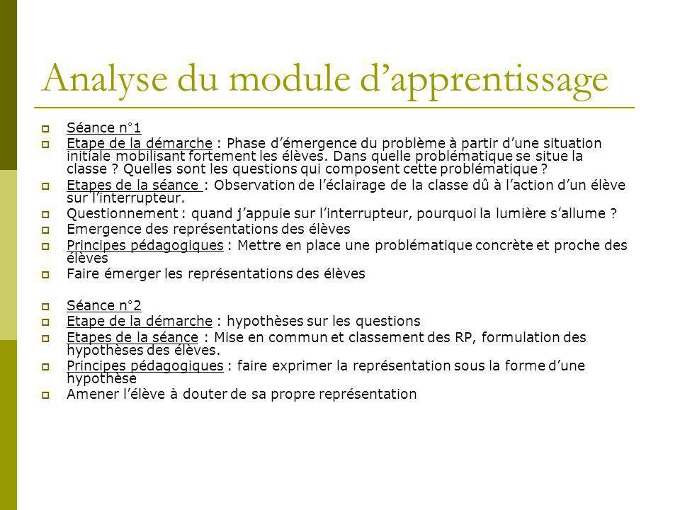 Analyse du module d'apprentissage  Séance n°1  Etape de la démarche : Phase d'émergence du problème à partir d'une situation initiale mobilisant for