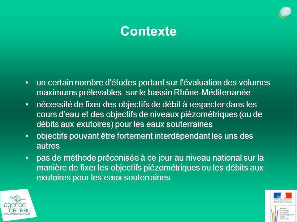 Contexte un certain nombre d'études portant sur l'évaluation des volumes maximums prélevables sur le bassin Rhône-Méditerranée nécessité de fixer des