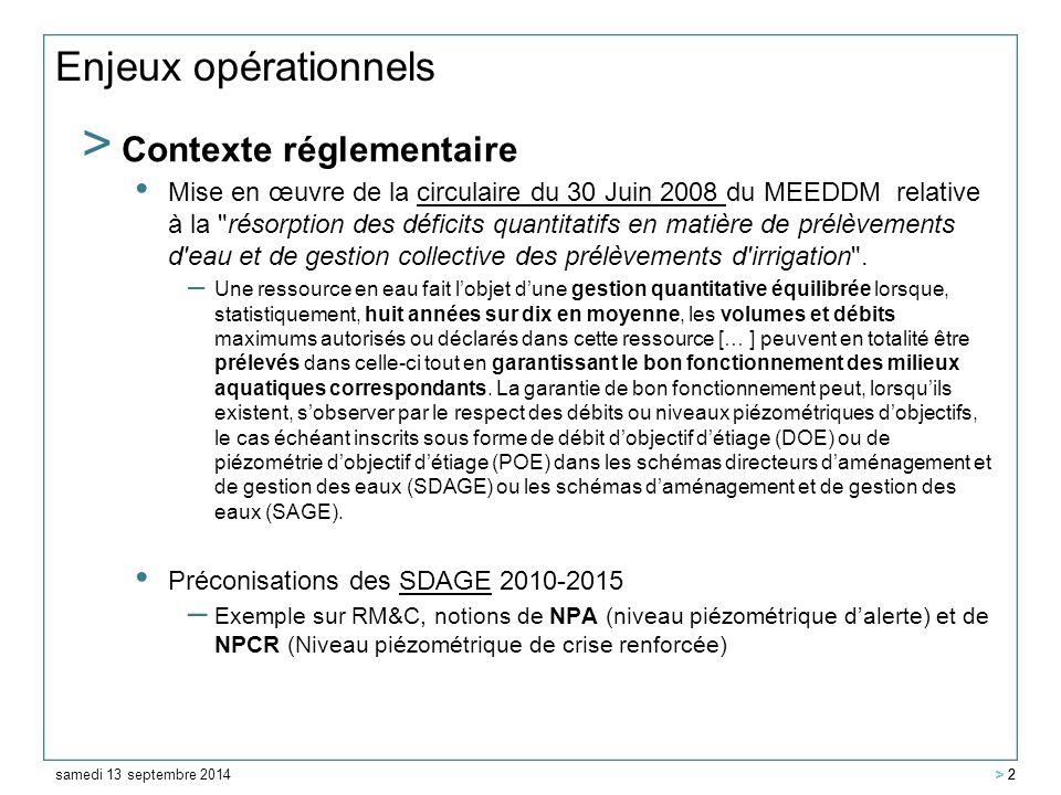samedi 13 septembre 2014 > 2 Enjeux opérationnels > Contexte réglementaire Mise en œuvre de la circulaire du 30 Juin 2008 du MEEDDM relative à la résorption des déficits quantitatifs en matière de prélèvements d eau et de gestion collective des prélèvements d irrigation .