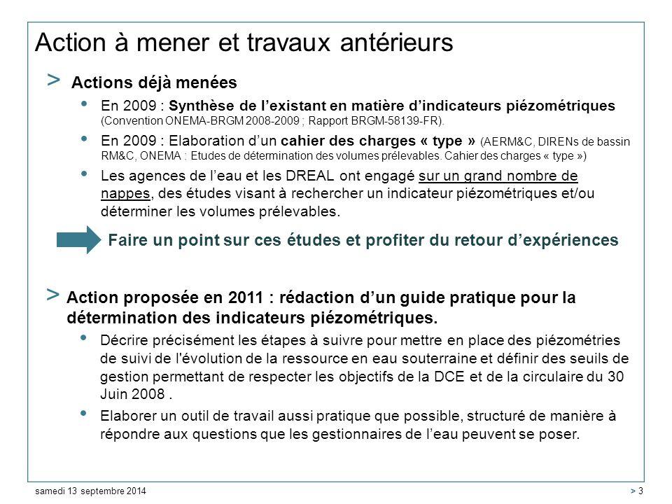 Action à mener et travaux antérieurs > Actions déjà menées En 2009 : Synthèse de l'existant en matière d'indicateurs piézométriques (Convention ONEMA-BRGM 2008-2009 ; Rapport BRGM-58139-FR).