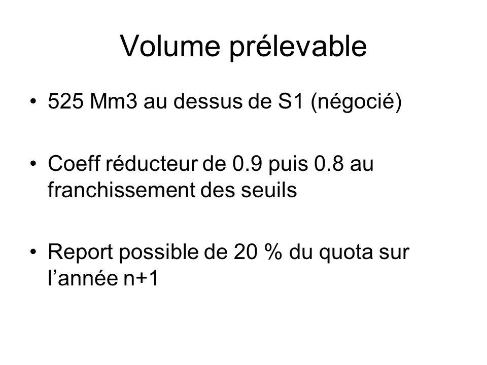 Volume prélevable 525 Mm3 au dessus de S1 (négocié) Coeff réducteur de 0.9 puis 0.8 au franchissement des seuils Report possible de 20 % du quota sur
