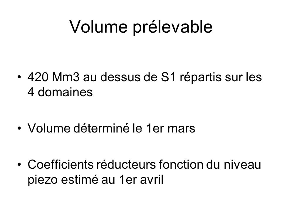 Volume prélevable 420 Mm3 au dessus de S1 répartis sur les 4 domaines Volume déterminé le 1er mars Coefficients réducteurs fonction du niveau piezo es