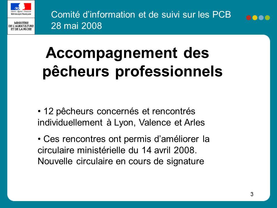 3 Accompagnement des pêcheurs professionnels 12 pêcheurs concernés et rencontrés individuellement à Lyon, Valence et Arles Ces rencontres ont permis d
