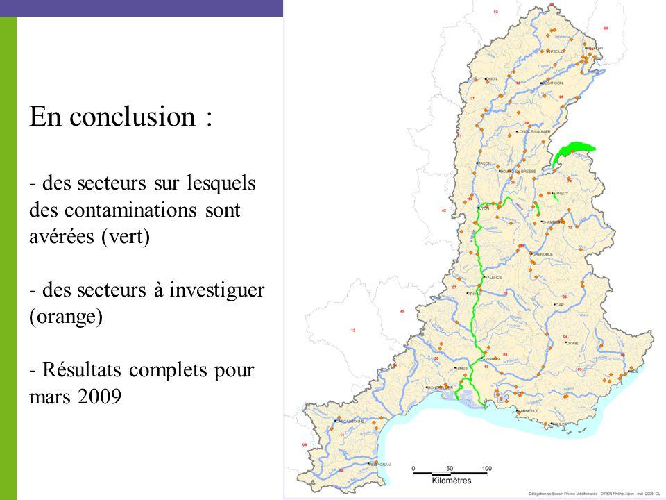 En conclusion : - des secteurs sur lesquels des contaminations sont avérées (vert) - des secteurs à investiguer (orange) - Résultats complets pour mars 2009