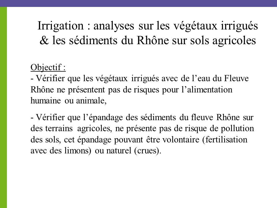 Objectif : - Vérifier que les végétaux irrigués avec de l'eau du Fleuve Rhône ne présentent pas de risques pour l'alimentation humaine ou animale, - Vérifier que l'épandage des sédiments du fleuve Rhône sur des terrains agricoles, ne présente pas de risque de pollution des sols, cet épandage pouvant être volontaire (fertilisation avec des limons) ou naturel (crues).