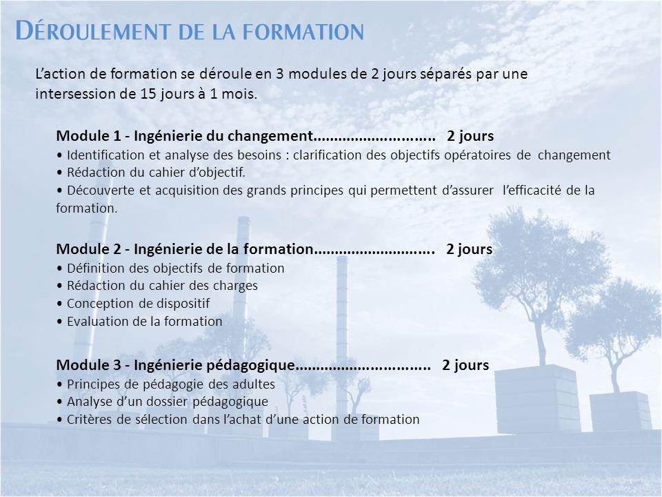L'action de formation se déroule en 3 modules de 2 jours séparés par une intersession de 15 jours à 1 mois. Module 1 - Ingénierie du changement.......