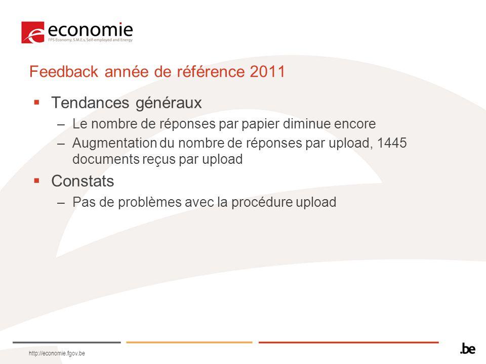 http://economie.fgov.be Feedback année de référence 2011  Tendances généraux –Le nombre de réponses par papier diminue encore –Augmentation du nombre de réponses par upload, 1445 documents reçus par upload  Constats –Pas de problèmes avec la procédure upload