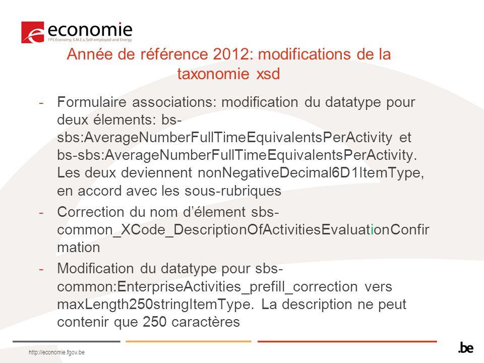 http://economie.fgov.be Année de référence 2012: modifications de la taxonomie xsd -Formulaire associations: modification du datatype pour deux élements: bs- sbs:AverageNumberFullTimeEquivalentsPerActivity et bs-sbs:AverageNumberFullTimeEquivalentsPerActivity.