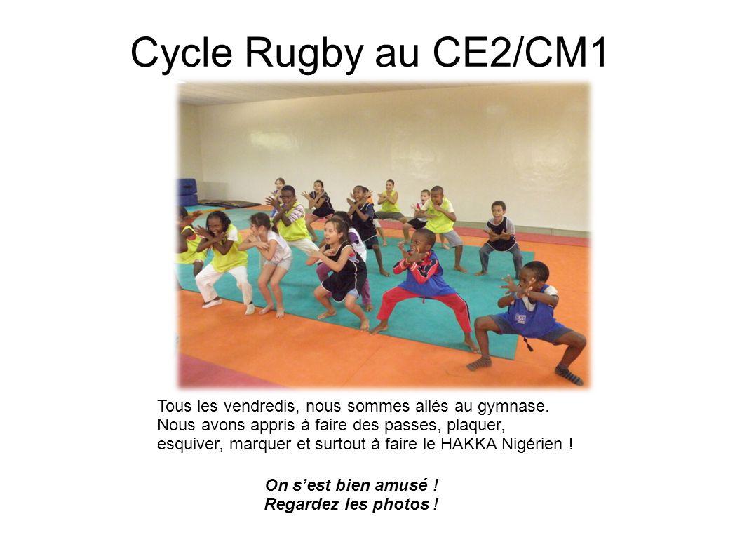 Cycle Rugby au CE2/CM1 Tous les vendredis, nous sommes allés au gymnase. Nous avons appris à faire des passes, plaquer, esquiver, marquer et surtout à