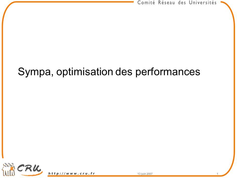 13 juin 20071 Sympa, optimisation des performances
