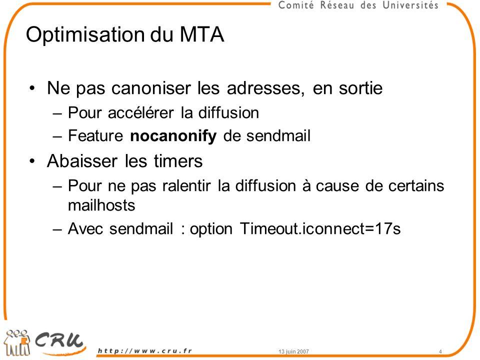 Optimisation du MTA Ne pas canoniser les adresses, en sortie –Pour accélérer la diffusion –Feature nocanonify de sendmail Abaisser les timers –Pour ne