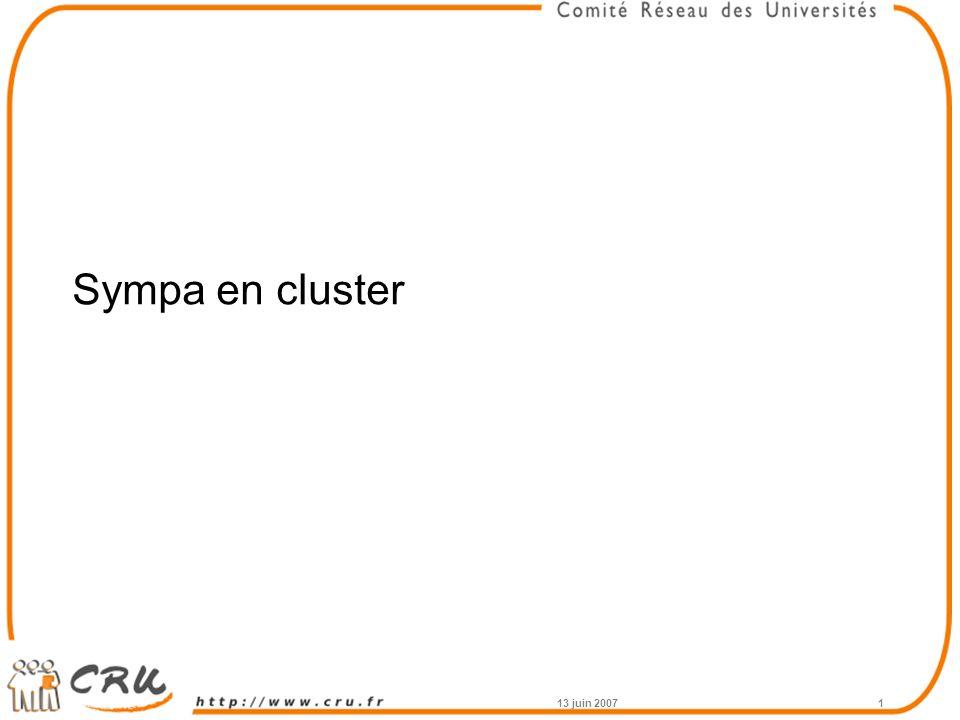 13 juin 20071 Sympa en cluster