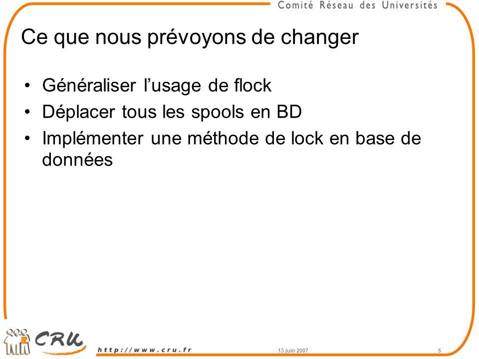 13 juin 20075 Ce que nous prévoyons de changer Généraliser l'usage de flock Déplacer tous les spools en BD Implémenter une méthode de lock en base de données