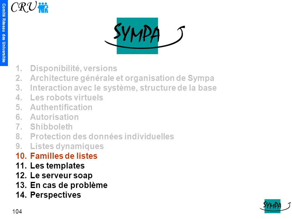 Comité Réseau des Universités 104 1.Disponibilité, versions 2.Architecture générale et organisation de Sympa 3.Interaction avec le système, structure