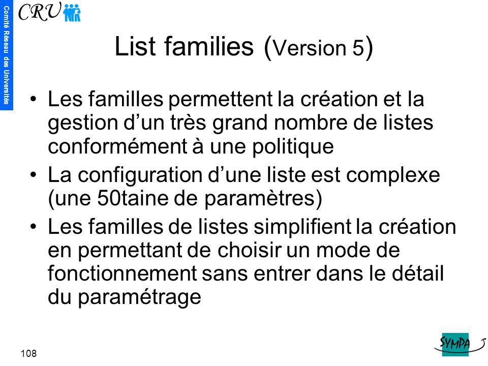 Comité Réseau des Universités 108 List families ( Version 5 ) Les familles permettent la création et la gestion d'un très grand nombre de listes confo