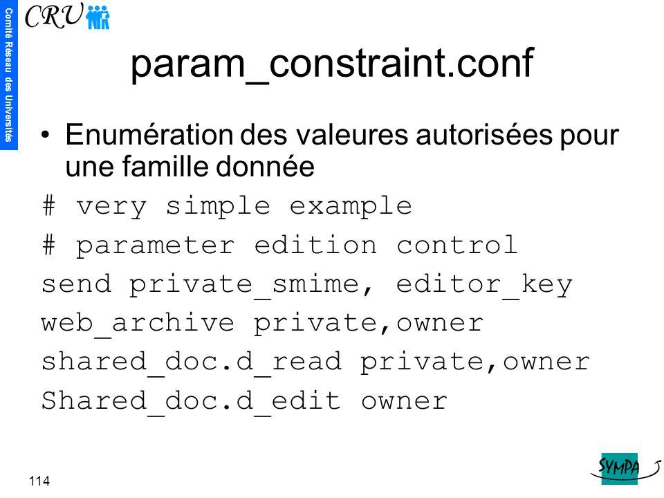 Comité Réseau des Universités 114 param_constraint.conf Enumération des valeures autorisées pour une famille donnée # very simple example # parameter