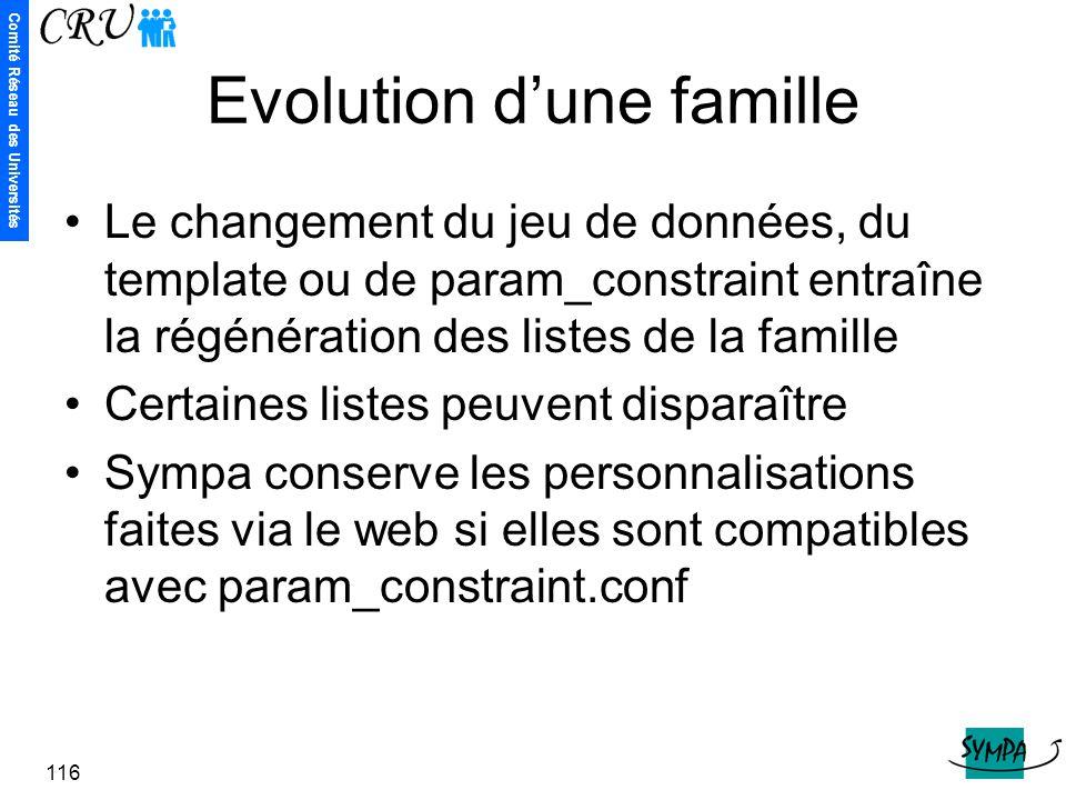 Comité Réseau des Universités 116 Evolution d'une famille Le changement du jeu de données, du template ou de param_constraint entraîne la régénération