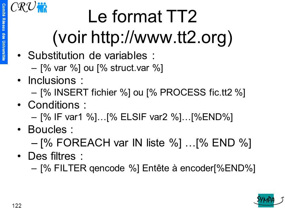 Comité Réseau des Universités 122 Le format TT2 (voir http://www.tt2.org) Substitution de variables : –[% var %] ou [% struct.var %] Inclusions : –[%