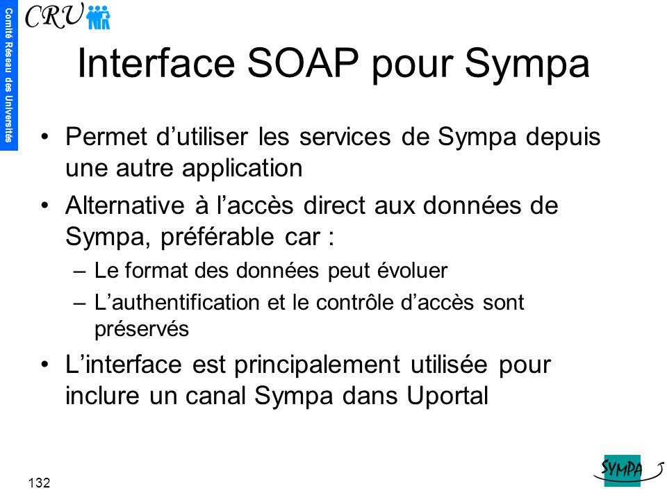 Comité Réseau des Universités 132 Interface SOAP pour Sympa Permet d'utiliser les services de Sympa depuis une autre application Alternative à l'accès