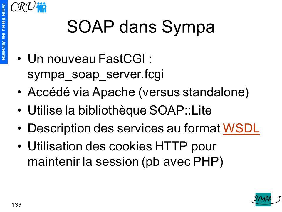 Comité Réseau des Universités 133 SOAP dans Sympa Un nouveau FastCGI : sympa_soap_server.fcgi Accédé via Apache (versus standalone) Utilise la bibliot