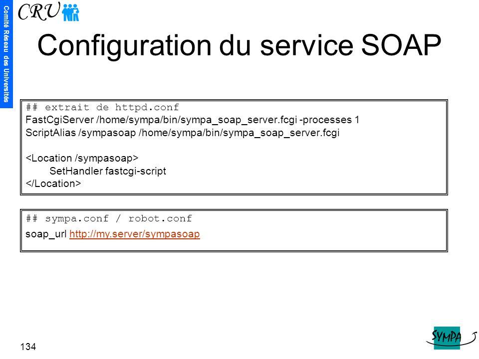 Comité Réseau des Universités 134 Configuration du service SOAP ## extrait de httpd.conf FastCgiServer /home/sympa/bin/sympa_soap_server.fcgi -process
