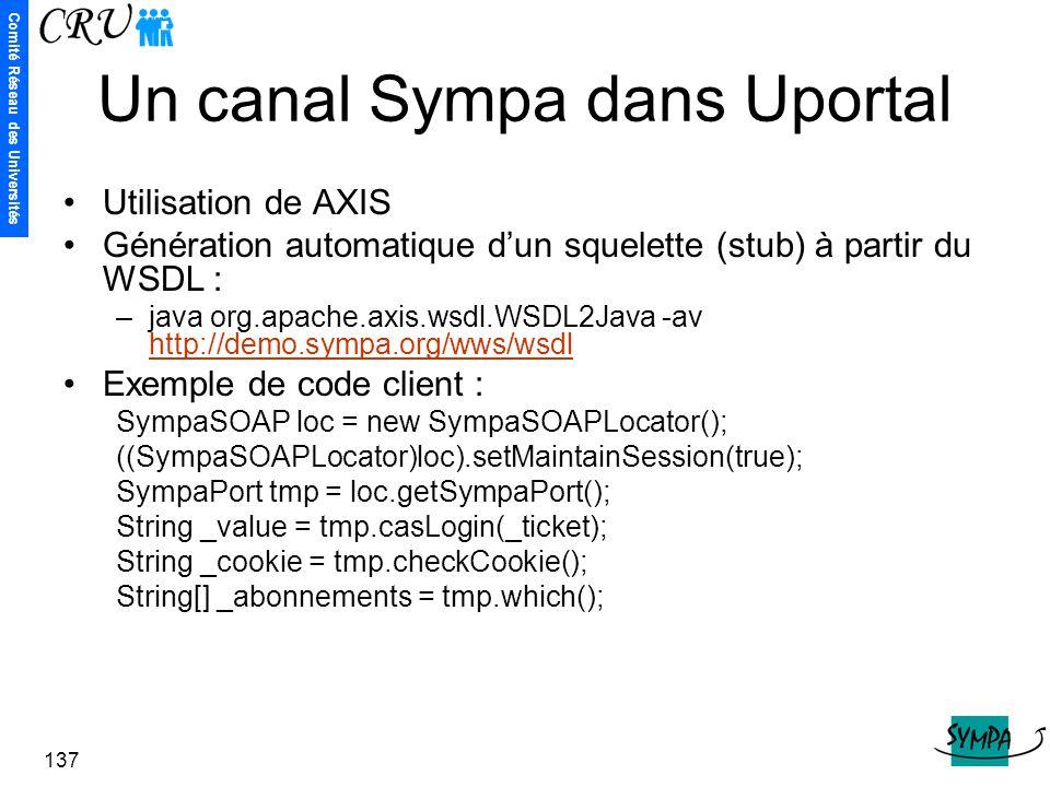 Comité Réseau des Universités 137 Un canal Sympa dans Uportal Utilisation de AXIS Génération automatique d'un squelette (stub) à partir du WSDL : –jav