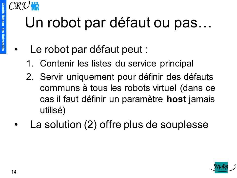 Comité Réseau des Universités 14 Un robot par défaut ou pas… Le robot par défaut peut : 1.Contenir les listes du service principal 2.Servir uniquement