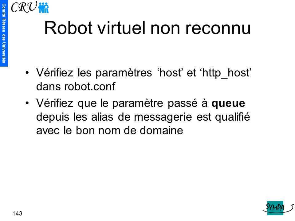 Comité Réseau des Universités 143 Robot virtuel non reconnu Vérifiez les paramètres 'host' et 'http_host' dans robot.conf Vérifiez que le paramètre pa