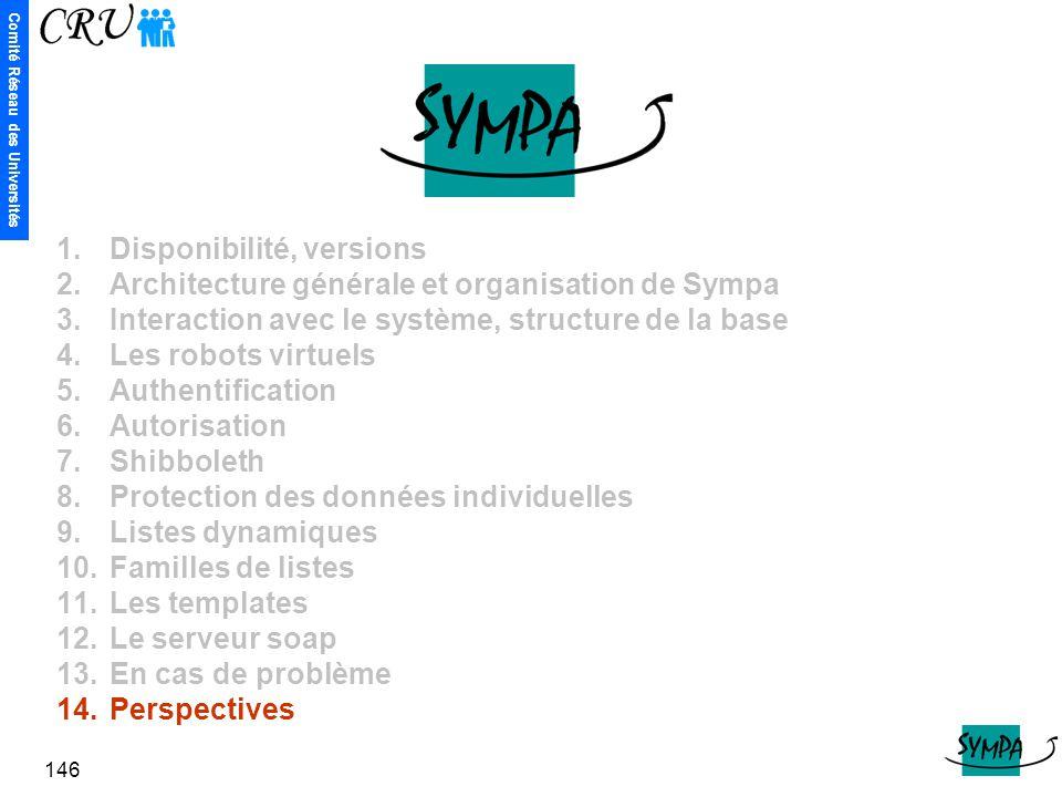 Comité Réseau des Universités 146 1.Disponibilité, versions 2.Architecture générale et organisation de Sympa 3.Interaction avec le système, structure