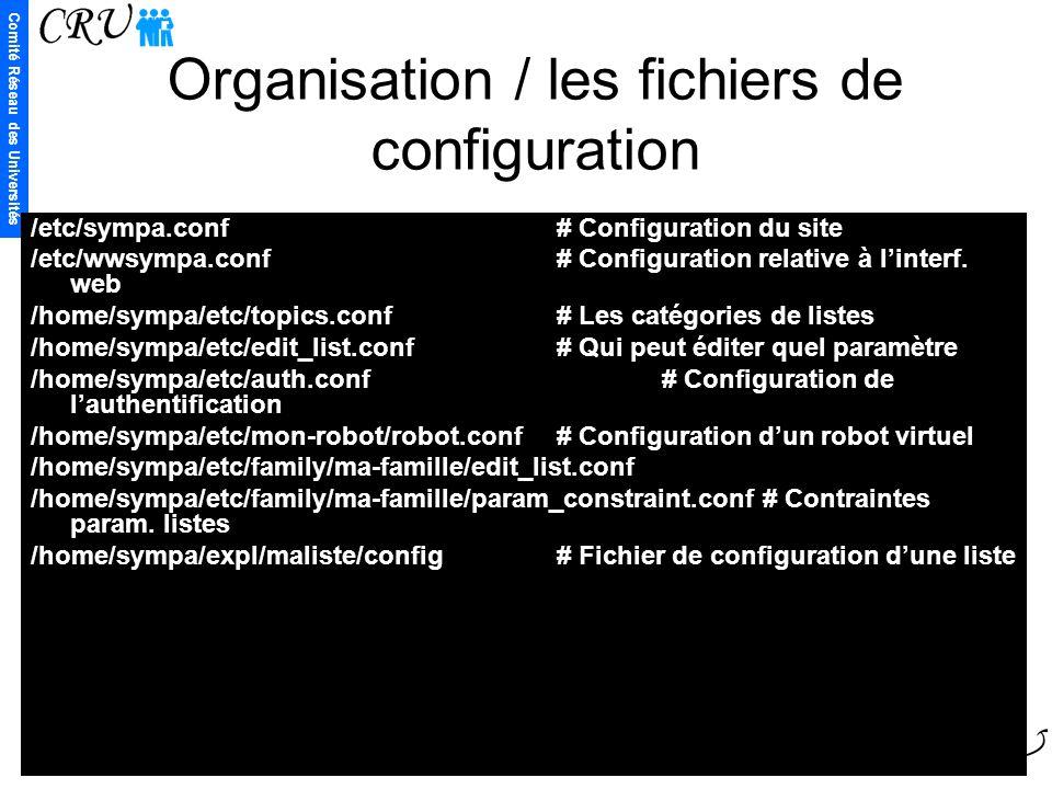 Comité Réseau des Universités 19 Organisation / les fichiers de configuration /etc/sympa.conf# Configuration du site /etc/wwsympa.conf# Configuration