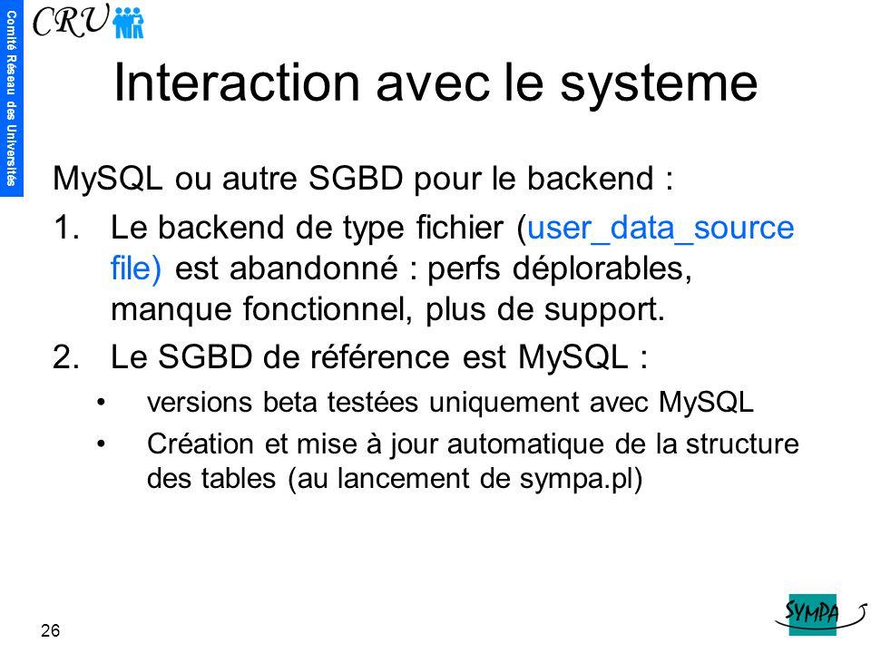 Comité Réseau des Universités 26 Interaction avec le systeme MySQL ou autre SGBD pour le backend : 1.Le backend de type fichier (user_data_source file