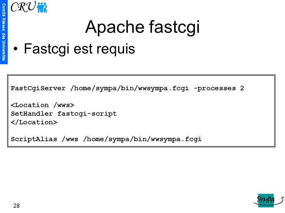 Comité Réseau des Universités 28 Apache fastcgi FastCgiServer /home/sympa/bin/wwsympa.fcgi -processes 2 SetHandler fastcgi-script ScriptAlias /wws /ho