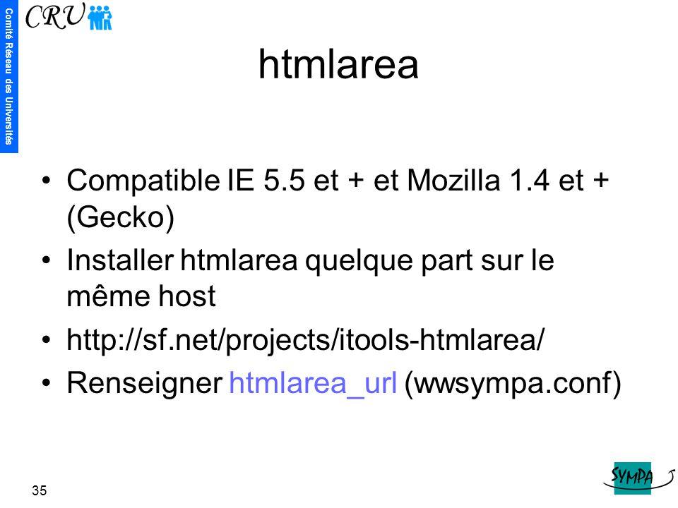 Comité Réseau des Universités 35 htmlarea Compatible IE 5.5 et + et Mozilla 1.4 et + (Gecko) Installer htmlarea quelque part sur le même host http://s