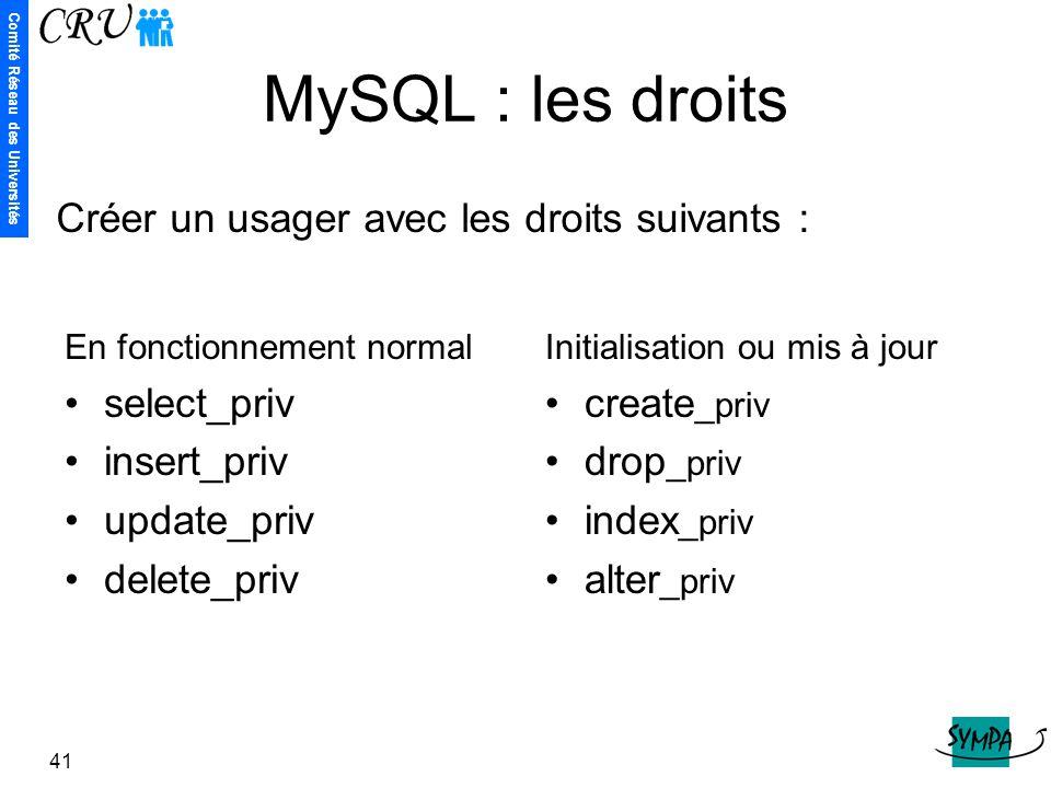 Comité Réseau des Universités 41 MySQL : les droits En fonctionnement normal select_priv insert_priv update_priv delete_priv Initialisation ou mis à j
