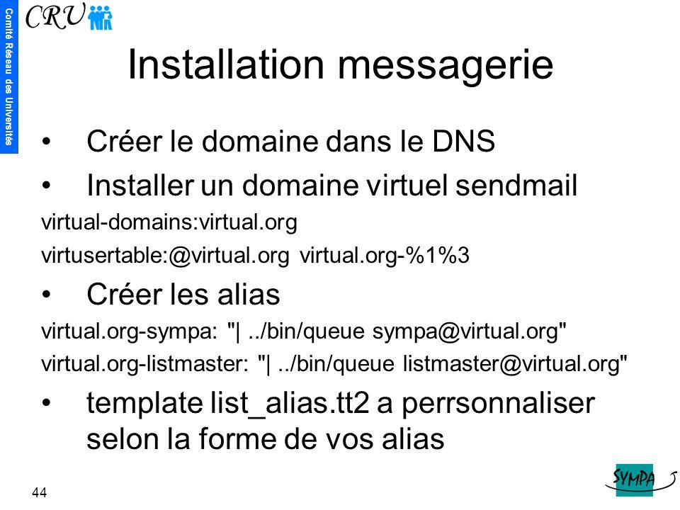 Comité Réseau des Universités 44 Installation messagerie Créer le domaine dans le DNS Installer un domaine virtuel sendmail virtual-domains:virtual.or