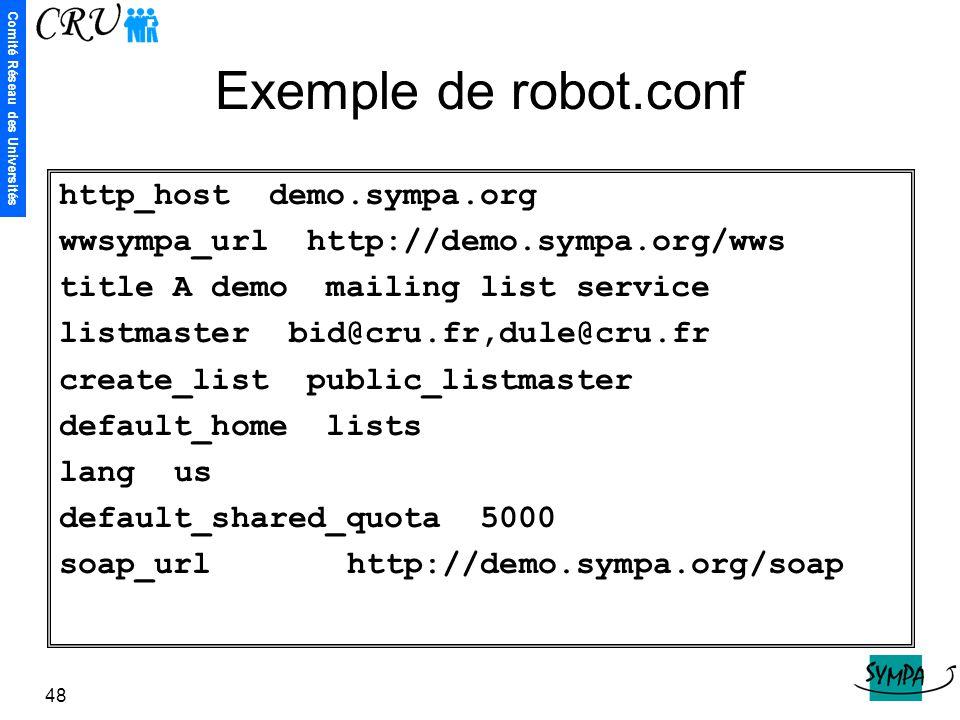 Comité Réseau des Universités 48 Exemple de robot.conf http_host demo.sympa.org wwsympa_url http://demo.sympa.org/wws title A demo mailing list servic