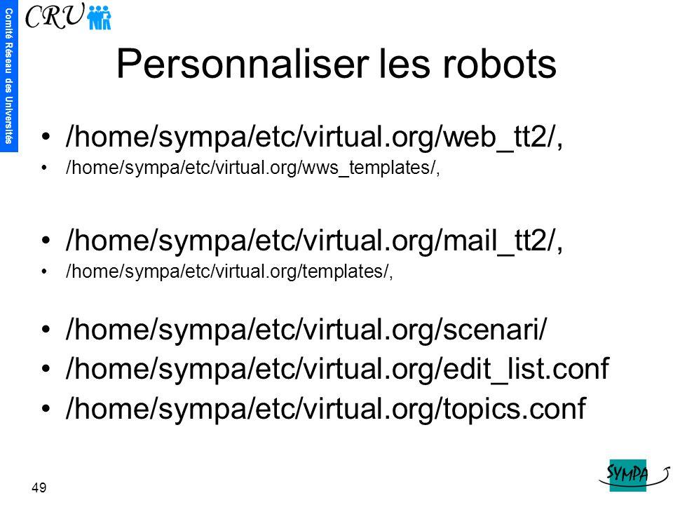 Comité Réseau des Universités 49 Personnaliser les robots /home/sympa/etc/virtual.org/web_tt2/, /home/sympa/etc/virtual.org/wws_templates/, /home/symp