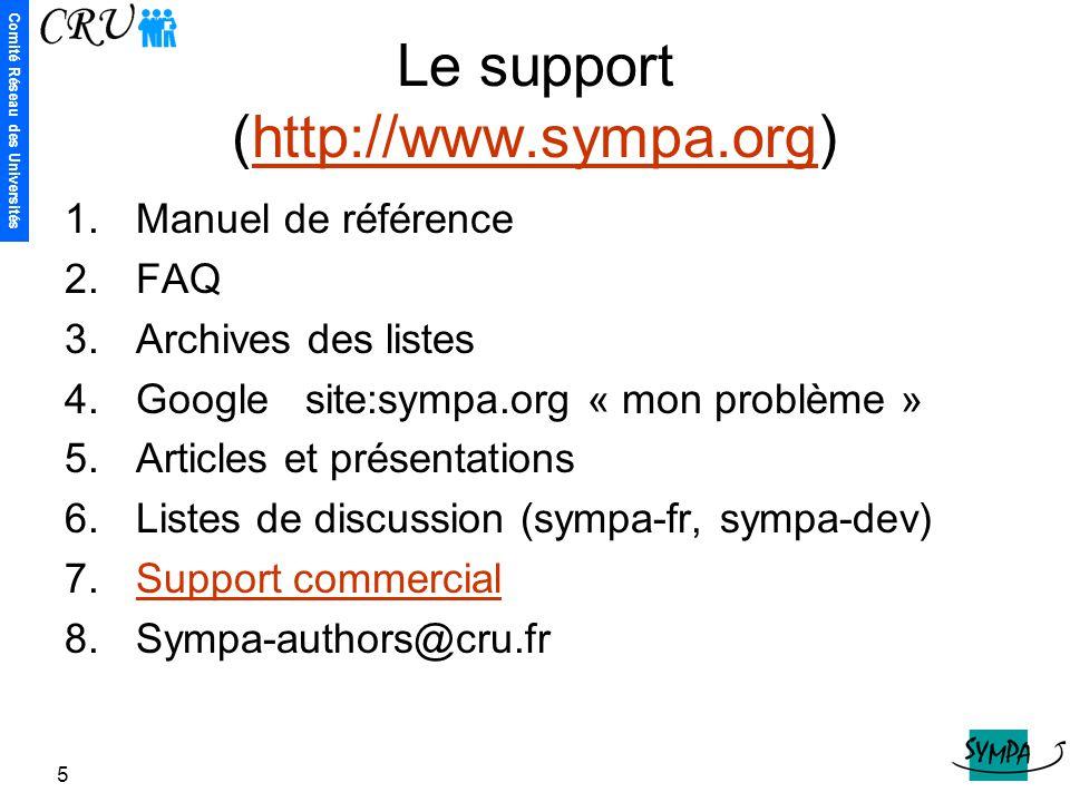 Comité Réseau des Universités 5 Le support (http://www.sympa.org)http://www.sympa.org 1.Manuel de référence 2.FAQ 3.Archives des listes 4.Google site: