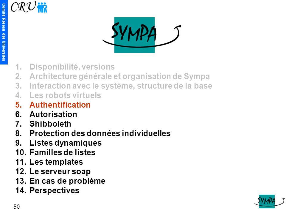 Comité Réseau des Universités 50 1.Disponibilité, versions 2.Architecture générale et organisation de Sympa 3.Interaction avec le système, structure d