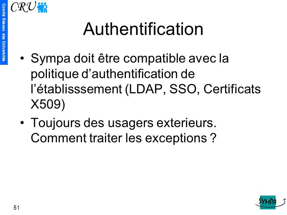Comité Réseau des Universités 51 Authentification Sympa doit être compatible avec la politique d'authentification de l'établisssement (LDAP, SSO, Cert