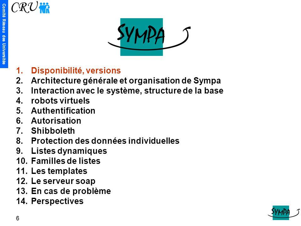 Comité Réseau des Universités 6 1.Disponibilité, versions 2.Architecture générale et organisation de Sympa 3.Interaction avec le système, structure de