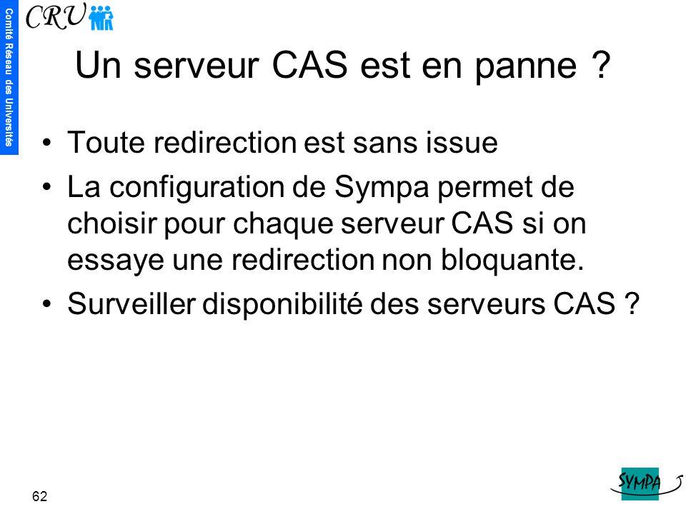 Comité Réseau des Universités 62 Un serveur CAS est en panne ? Toute redirection est sans issue La configuration de Sympa permet de choisir pour chaqu