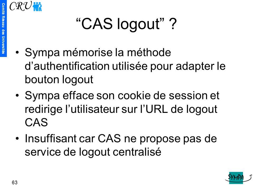 """Comité Réseau des Universités 63 """"CAS logout"""" ? Sympa mémorise la méthode d'authentification utilisée pour adapter le bouton logout Sympa efface son c"""