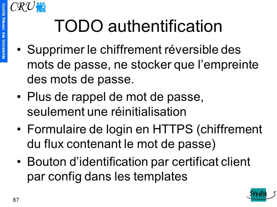 Comité Réseau des Universités 67 TODO authentification Supprimer le chiffrement réversible des mots de passe, ne stocker que l'empreinte des mots de p