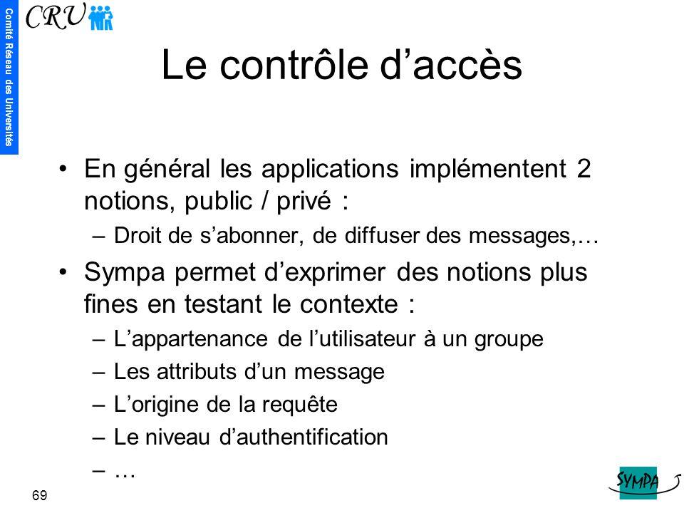 Comité Réseau des Universités 69 Le contrôle d'accès En général les applications implémentent 2 notions, public / privé : –Droit de s'abonner, de diff