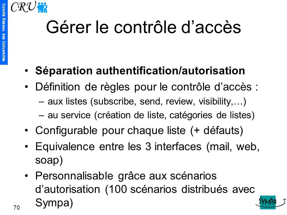 Comité Réseau des Universités 70 Gérer le contrôle d'accès Séparation authentification/autorisation Définition de règles pour le contrôle d'accès : –a